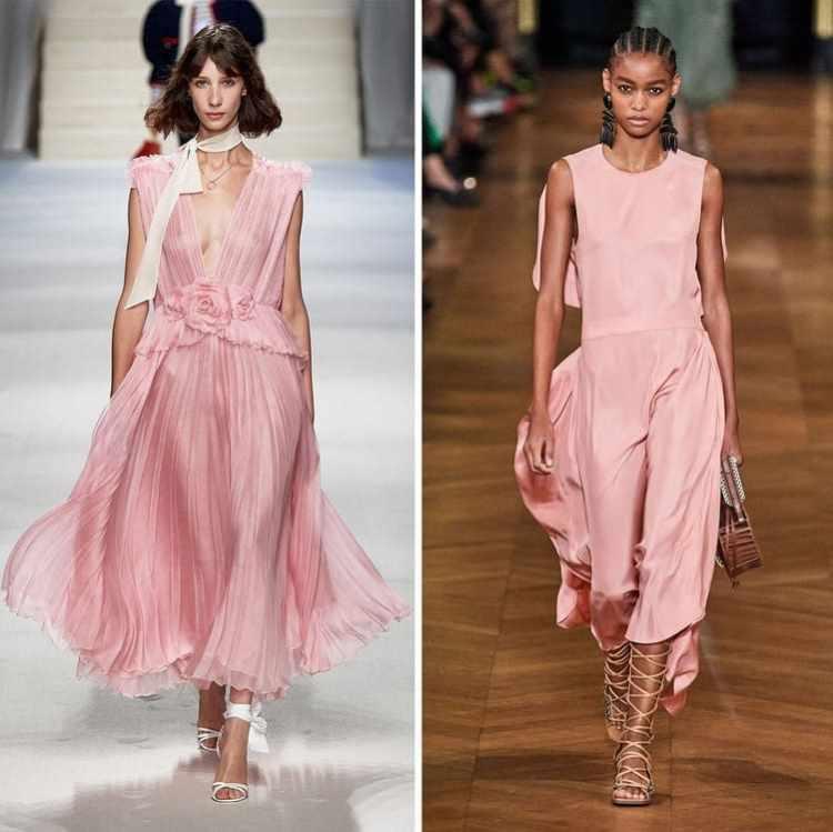 модные платья розовго цвета лето 2020