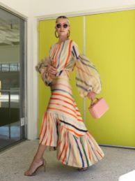 модное платье с пышными рукавами лето 2020 -