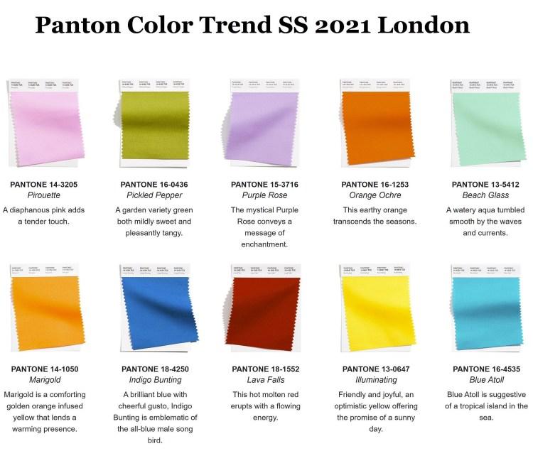 модные цвета пантон лето 2021 палитра london