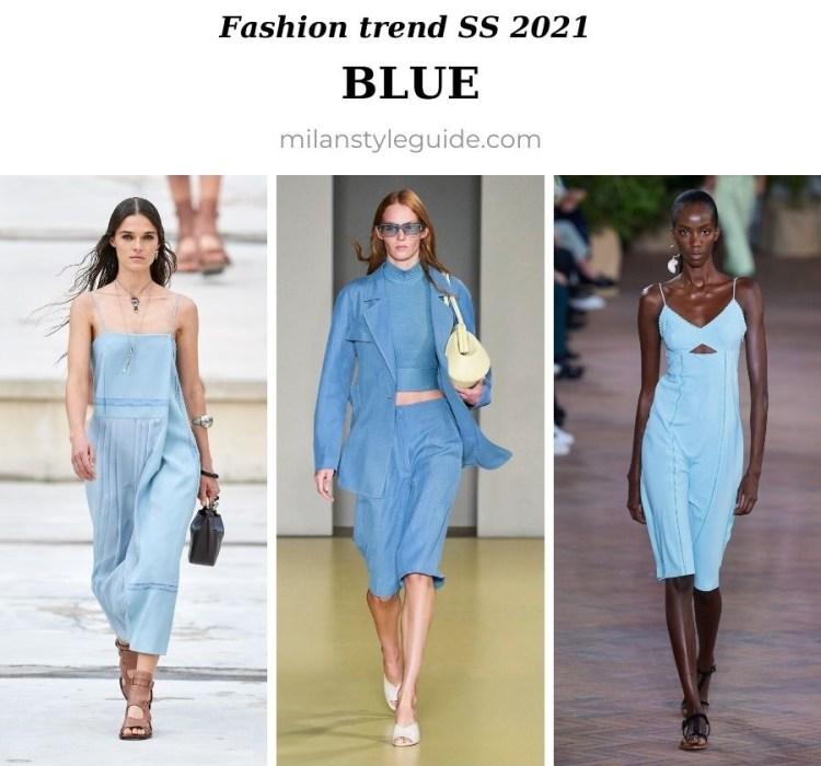 модный тренд весна лето 2021 голубой цвет