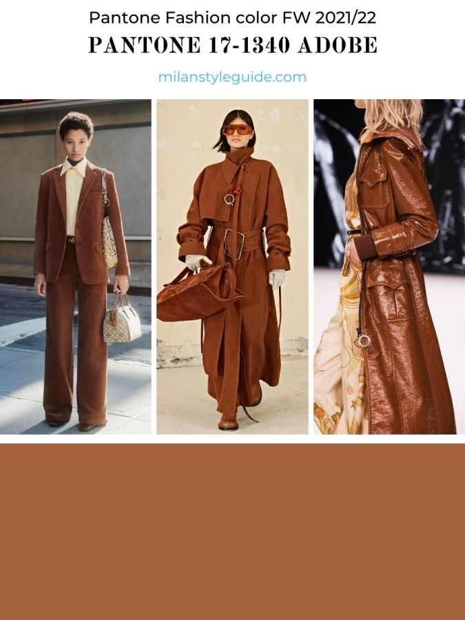 модный коричневый цвет осень-зима 2021-2022 в одежде