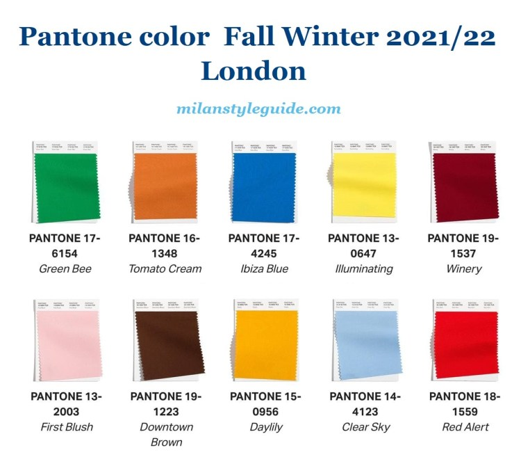 модные цвета осень зима 2021 2022 Пантон лондон