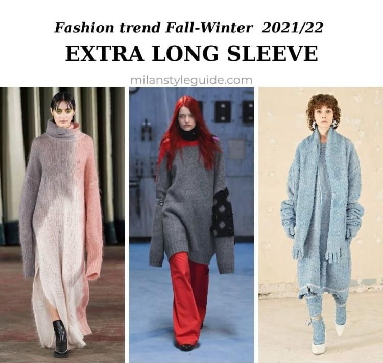 модный тренд осень зима 2021 2022 супер длинный рукав