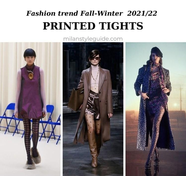 модный тренд осень зима 2021 2022 колготки с рисунком и цветные