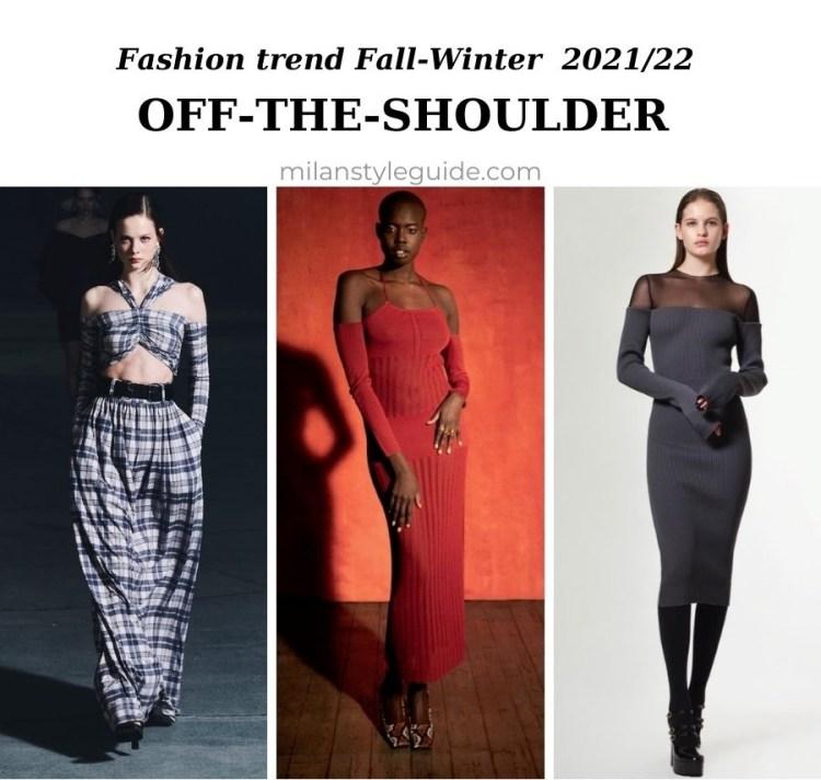 модный тренд осень зима 2021 2022 обнаженные плечи