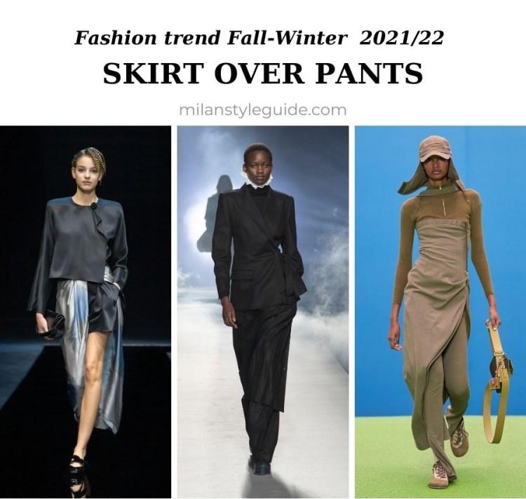 модный тренд осень зима 2021 2022 юбка поверх брюк