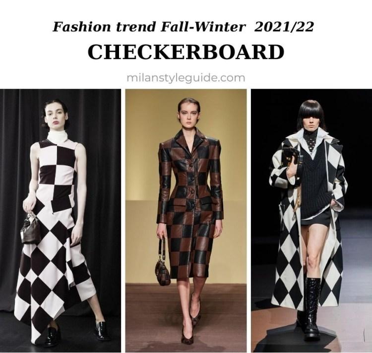 модный тренд осень зима 2021 2022 клетка шахматная доска