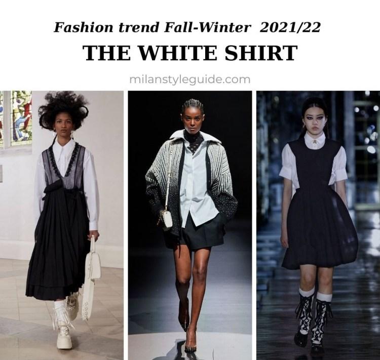 модный тренд осень зима 2021 2022 белая рубашка