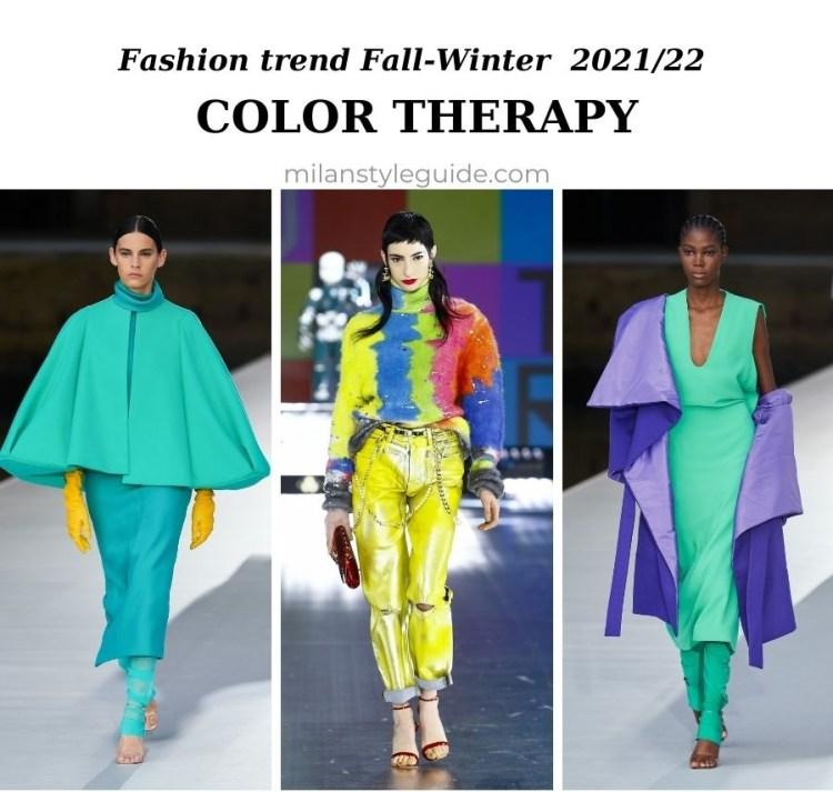 модные тенденции осень-зима 2021 2022 цветотерапия яркие цвета