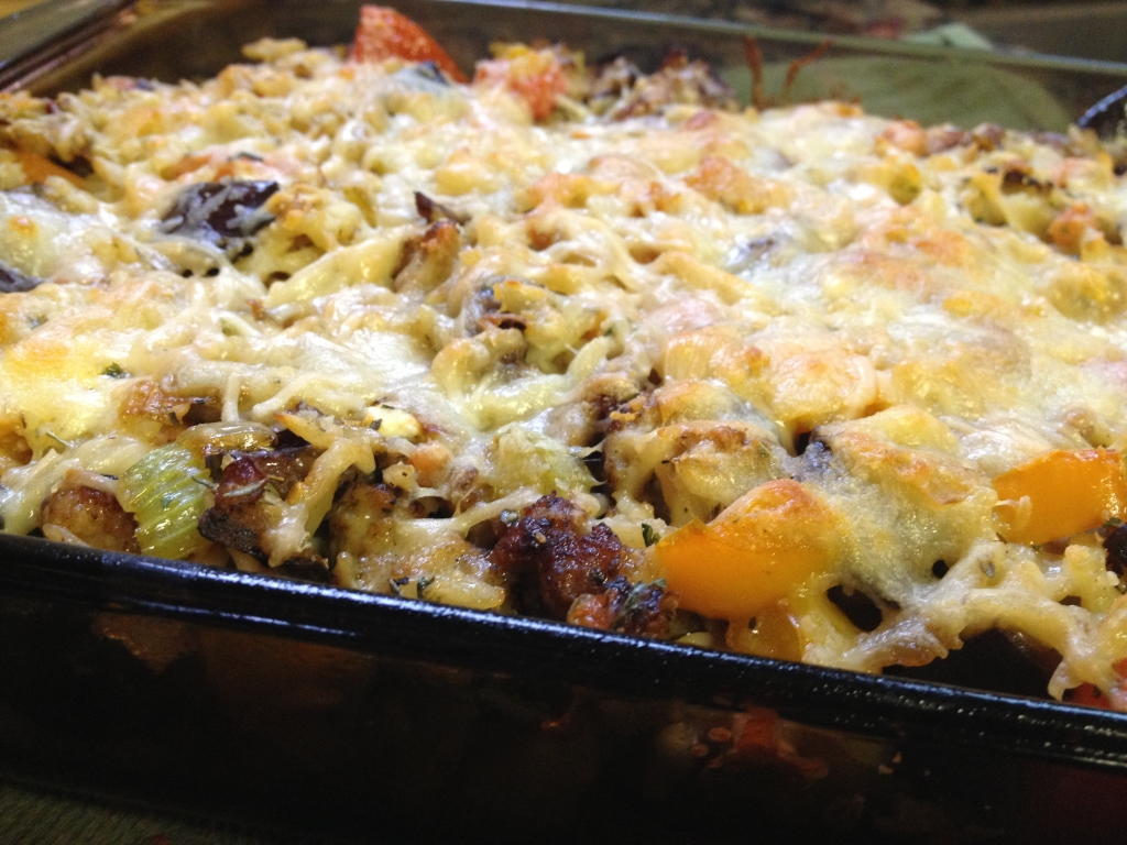 eggplant orzo casserole with Italian sausage