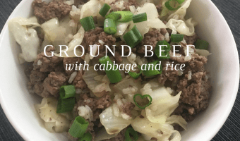 Quick dinner from scratch — ground beef with cabbage and rice.