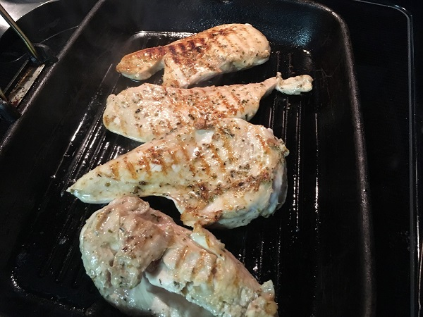 chicken grilled in a grill pan