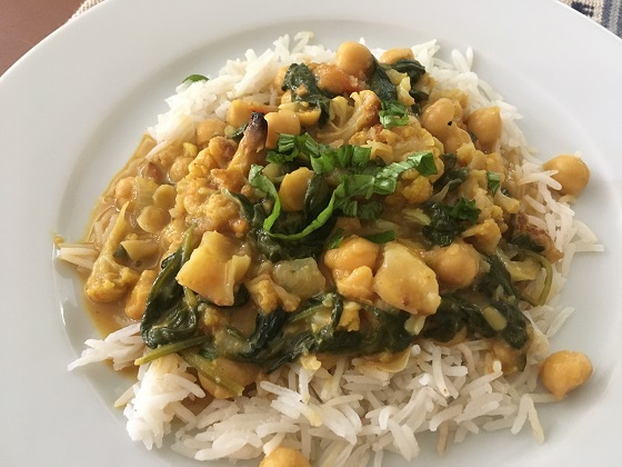 Mild coconut chickpea curry