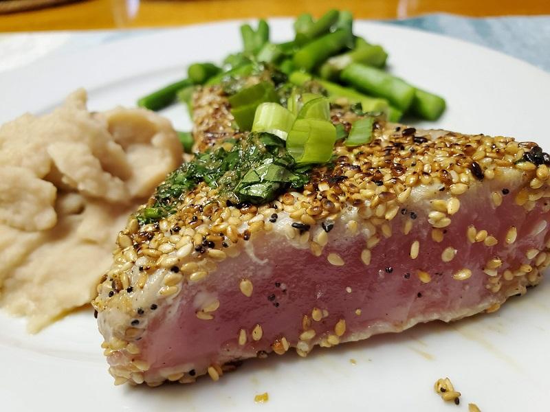 sesame seed crusted tuna steaks