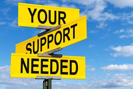 Your Support Needed Street Sign