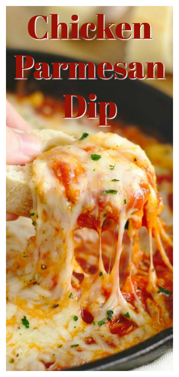 Chicken Parmesan Dip - A quick and easy appetizer recipe that tastes just like chicken parmesan! Ricotta, marinara sauce, chicken, mozzarella, and parmesan layered in a skillet and baked until hot! This is the ultimate easy dip recipe! Easy Dip Recipe | Appetizer Recipe | Chicken Parmesan Recipe #appetizer #dip #recipe #easyrecipe