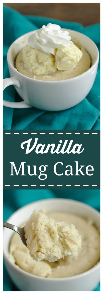 Vanilla Mug Cake -  A quick and easy one minute, single serving dessert! Delicious vanilla bean cake batter microwaved in a mug for just a minute! Perfect topped with vanilla bean ice cream and whipped cream! Mug Cake Recipe | Cake in a Mug | Vanilla Mug Cake #cake #mugcake #dessert #recipe #easyrecipe