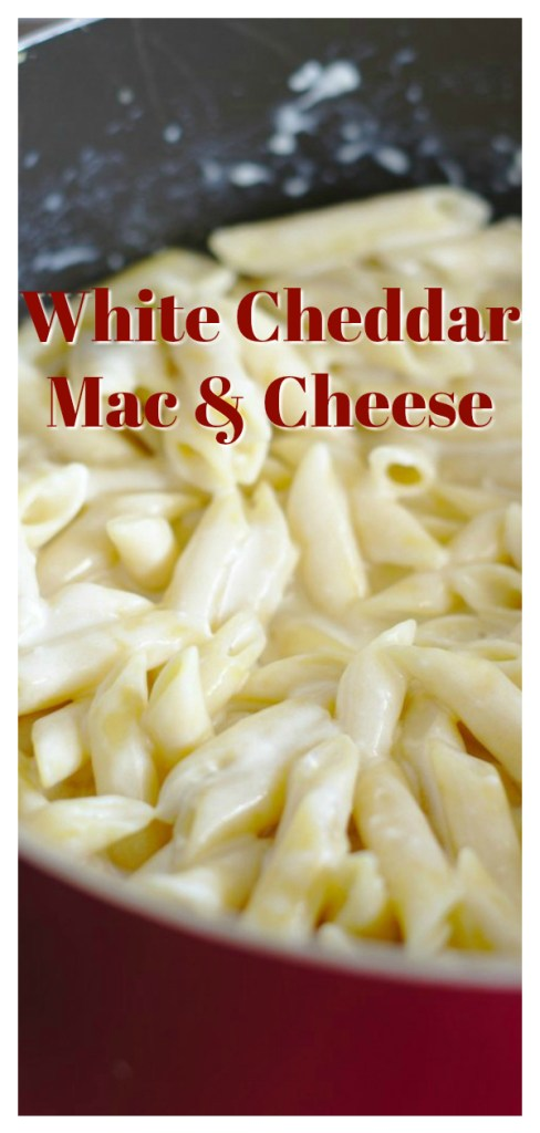 White Cheddar Mac and Cheese - This is the BEST mac and cheese recipe! All you need is 5 simple ingredients and less than 30 minutes to make the perfect white cheddar mac and cheese! This mac and cheese recipe feeds 6-8 people and is easy to double so it is a great way to serve a crowd! Mac and Cheese Recipe | Easy Macaroni and Cheese | White Cheddar Mac and Cheese #pasta #dinner #recipe #easyrecipe