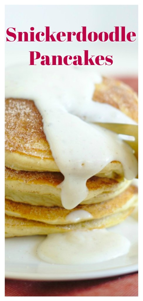 Snickerdoodle Pancakes - All of your favorite snickerdoodle cookies flavors in a simple pancake recipe! Cinnamon vanilla pancakes topped with cinnamon sugar and a homemade vanilla sauce! This is the best pancake recipe for snickerdoodle fans! Easy Pancake Recipe | Cinnamon Pancakes | Pancakes Recipe