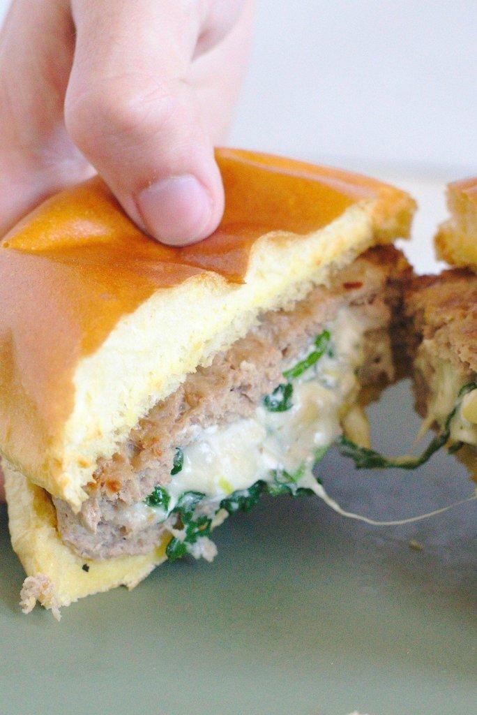 Spinach Artichoke Stuffed Burgers