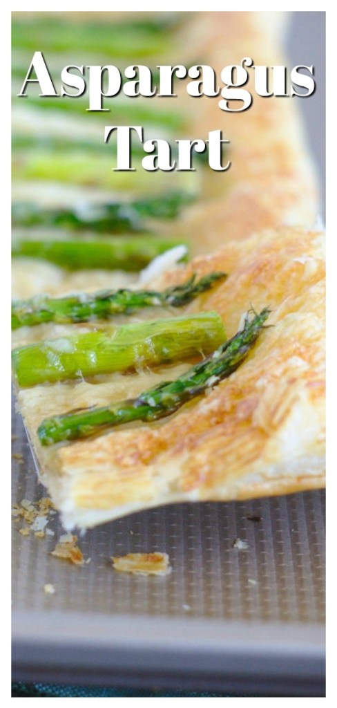 Asparagus Tart - This savory tart recipe is made with just 5 ingredients! Crispy puff pastry topped with cheese and fresh asparagus. Asparagus tart is a great appetizer or brunch recipe! Asparagus Recipe | Appetizer Recipe | Savory Tart Recipe