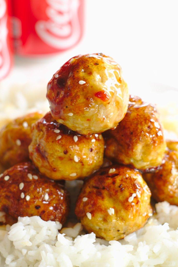 Honey Sriracha Chicken Meatballs