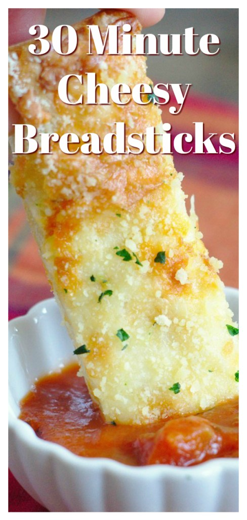 30 Minute Cheesy Breadsticks - A quick and easy side dish made with just 5 simple ingredients. Perfect served with pasta or pizza! Breadstick Recipe | Easy Bread Recipe | Cheese Bread Recipe #bread #breadsticks #appetizer #sidedish #recipe #easyrecipe