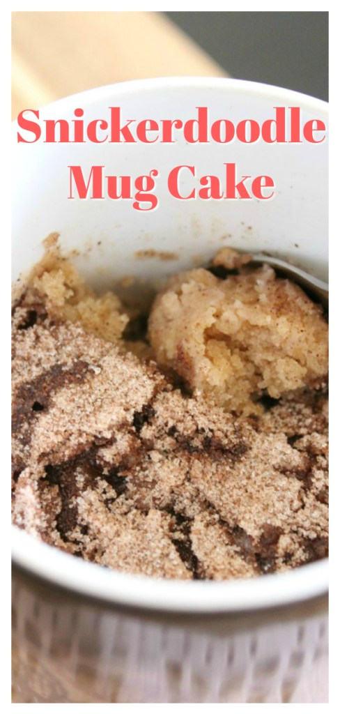 Snickerdoodle Mug Cake - In only one minute, you can have the perfect, personal snickerdoodle cake! So easy and delicious! Easy Mug Cake Recipe | Snickerdoodle Recipe | Single Serving Dessert #dessert #cake #recipe #easyrecipe