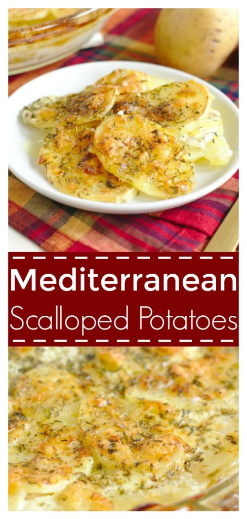 Mediterranean Scalloped Potatoes - A delicious side dish perfect for a holiday dinner! Thinly sliced potatoes topped with creamy white cheddar cheese and mediterranean spices! Easy Potato Recipe | Potatoes Recipe | Scalloped Potatoes #recipe #easyrecipe #sidedish #potatoes