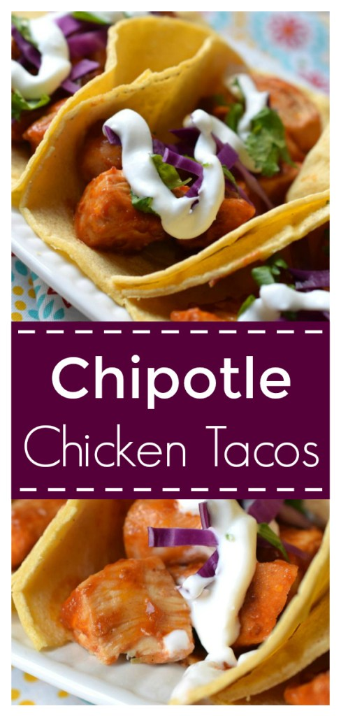 Chipotle Chicken Tacos - A quick and easy meal filled with flavor! Chicken covered in a spicy chipotle sauce and topped with tasty toppings in a tortilla. Chicken Tacos | Chipotle Chicken | Taco Recipe #taco #tacos #dinner #mexican #recipe #easyrecipe #easydinner
