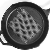 "Ationgle 8""x6"" Stainless Steel Cast Iron Cleaner 316L Chainmail Scrubber for Cast Iron Pan Pre-Seasoned Pan Dutch Ovens Waffle Iron Pans"