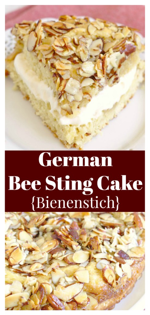 German Bee Sting Cake (Bienenstich) - A delicious yeasted cake topped with a crunchy honey almond topping and filled with a homemade pastry cream. German Dessert Recipe | Bee Sting Cake | Bienenstich Kuchen | Honey Cake