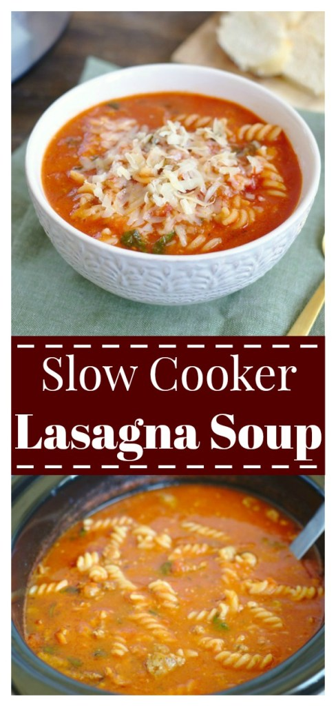 Slow Cooker Lasagna Soup - A comforting meal that is so easy to make! All of your favorite lasagna flavors made into a soup that cooks all day in the crock pot. Slow Cooker Lasagna Soup | Lasagna Soup Recipe | Crock Pot Lasagna Soup