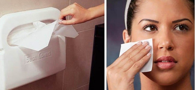 Toilet seat covers can be used as blotting paper