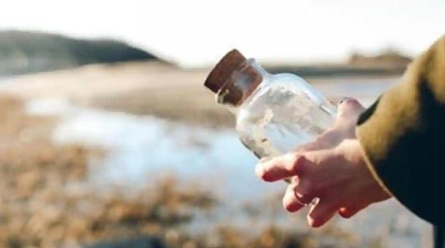 Letter on water bottle