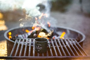 Campfire with coffee cup