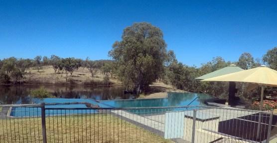 Infinity pool and driving range dam