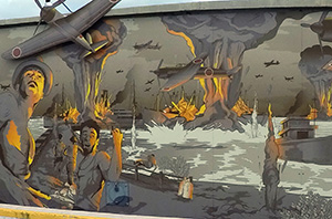 Mural of WWII bombing of Darwin