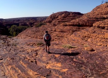 Joanne trekking the outback