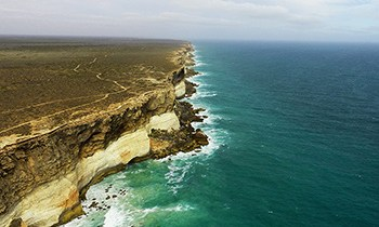 Panoramic image of Great Australian Bight cliff