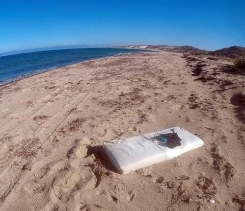 A spare beach mattress