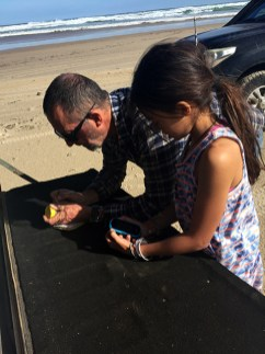 Heidi helping me with labelling the sand sample