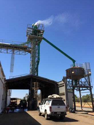 Cleaning the Elevator chute at end of harvest