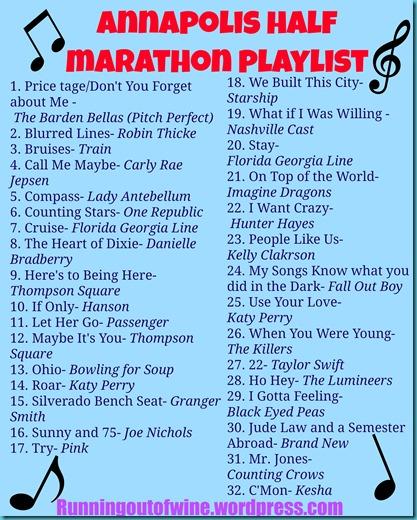 annapolis half marathon playslist