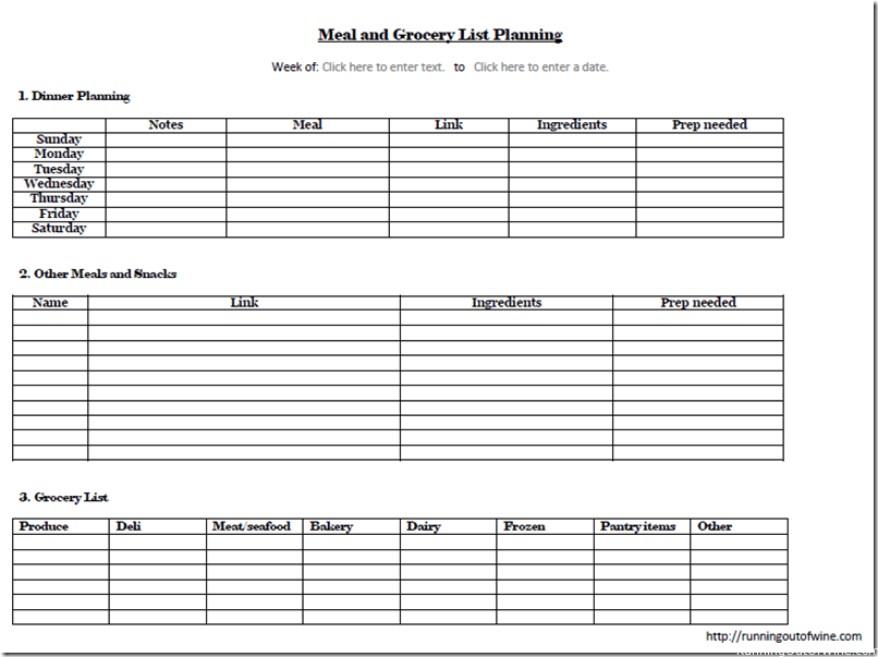 Here Is The Template For The Meal Planning/grocery List Form:  Grocery List Form