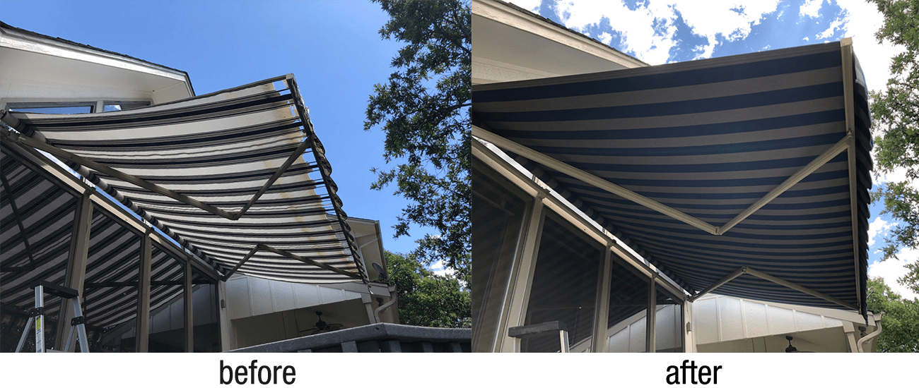 Top-quality custom awning recovering for home and business in the Denver area. Our team of awning pros can repair and recover most types & brands of retractable awnings.