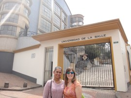 Paola and me in front of her alma mater, La Salle University