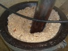 Coconut bits for pressing.