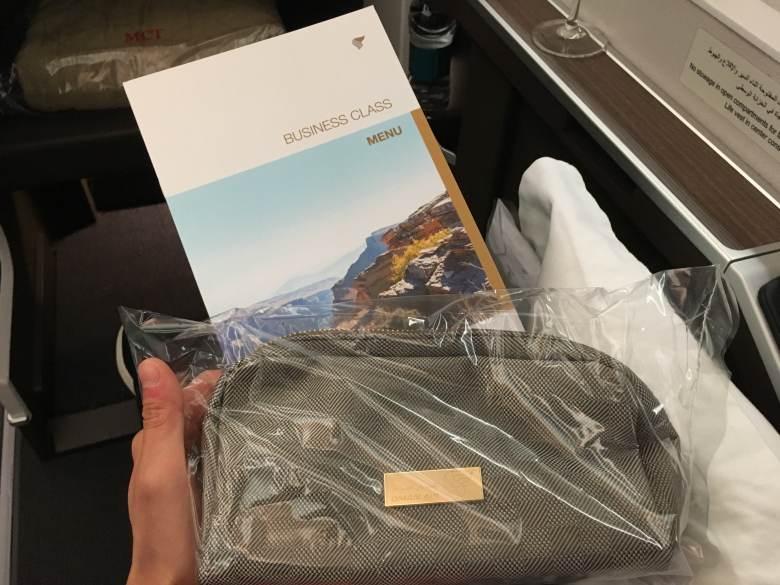 Oman Air business class amenity kit