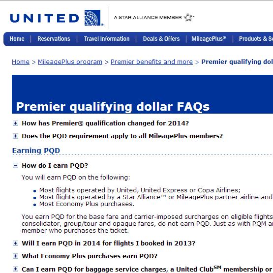Click to go to United PQD FAQ.